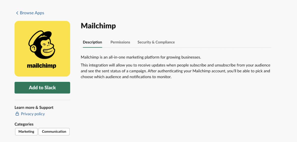 Mailchimp integrations: Slack