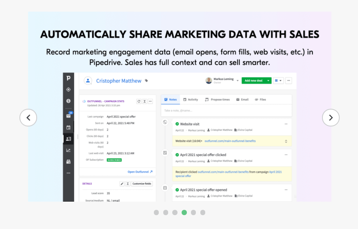 Pipedrive integrations: Outfunnel