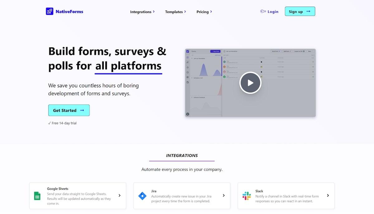 Intercom apps: NativeForms