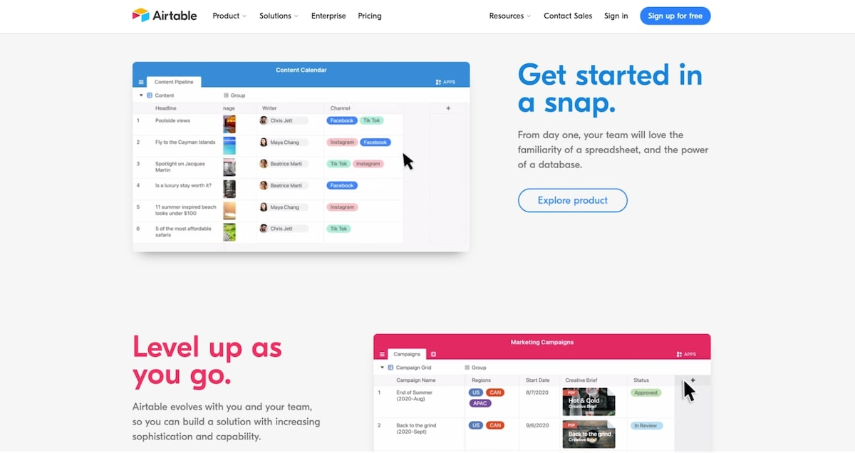 Softwares for sales: Airtable
