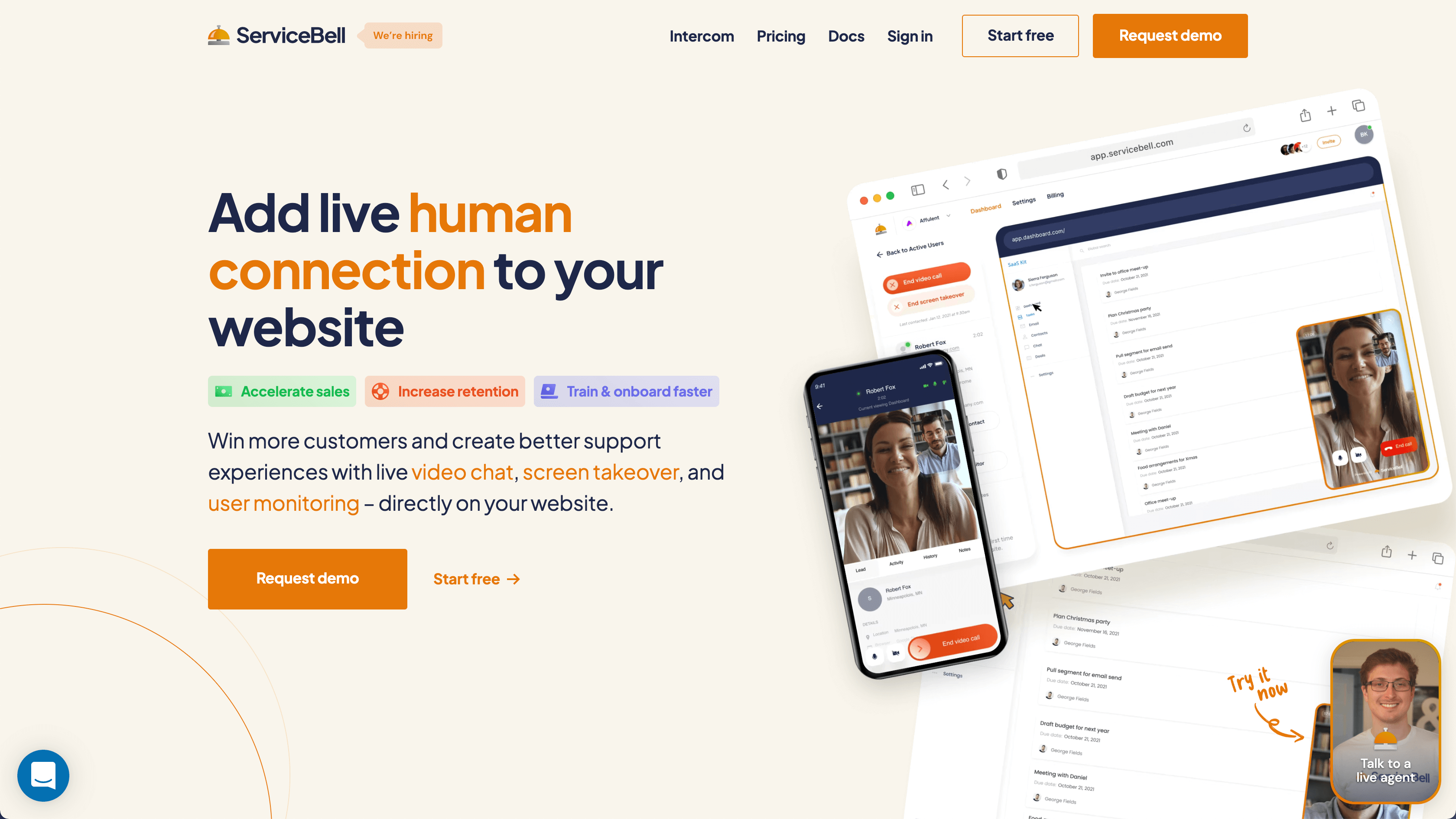 servicebell live video chat and screen takeover