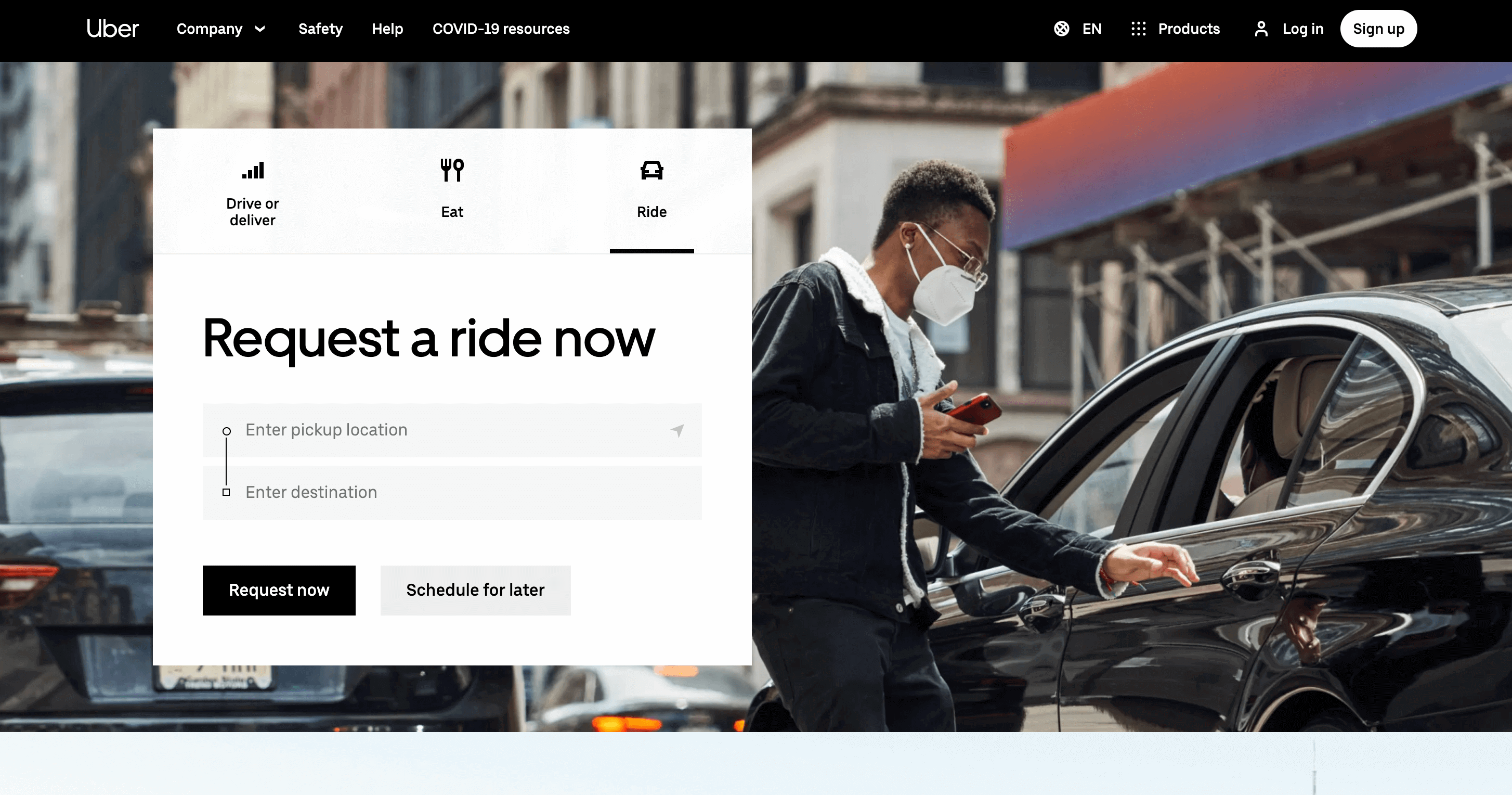 uber.com landing page converts very well