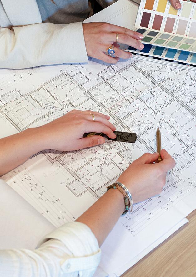 Grundriss auf dem per Hand skizziert wird