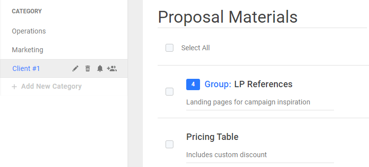 Agency proposal section in Neatly