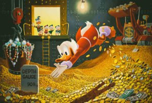 Scrooge McDuck Dives Into Gold Money Pool