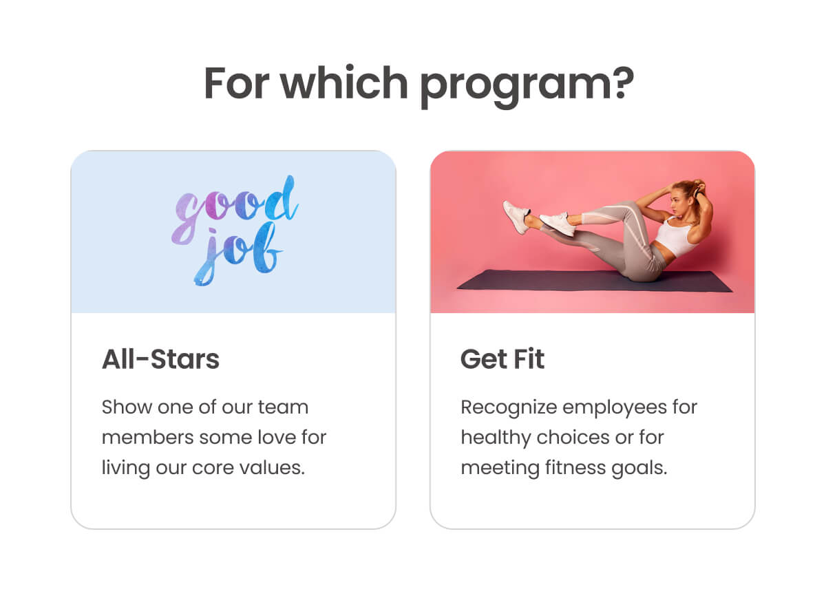 Choose which program to recognize for.