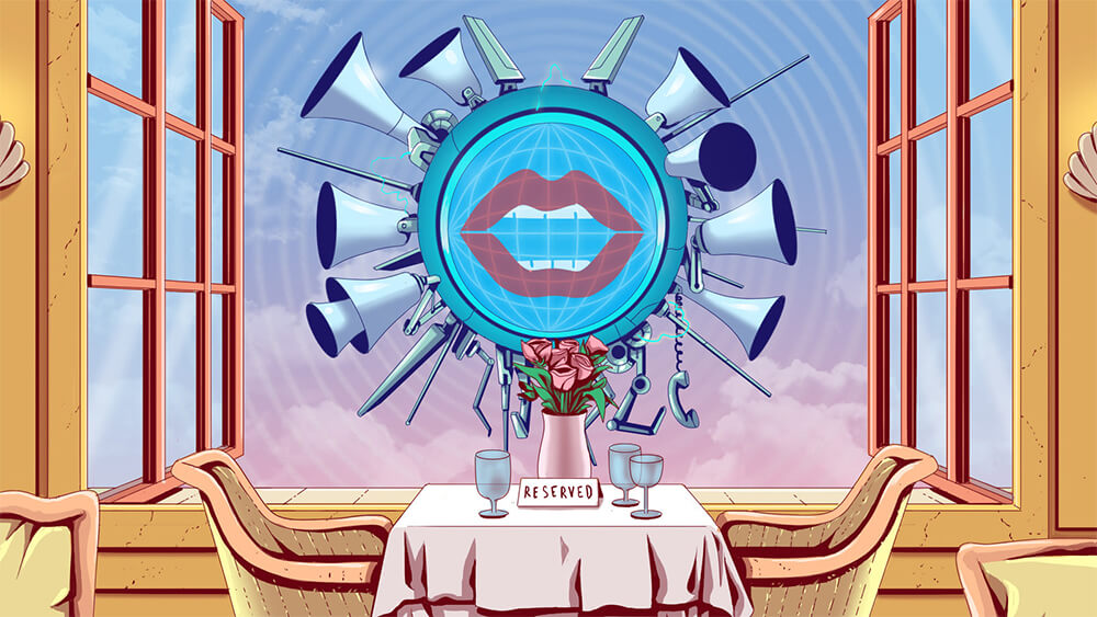 "An illustration of a set of lips surrounded by loudspeakers situated on a table in a restaurant. A ""reserved"" card is placed on the table."