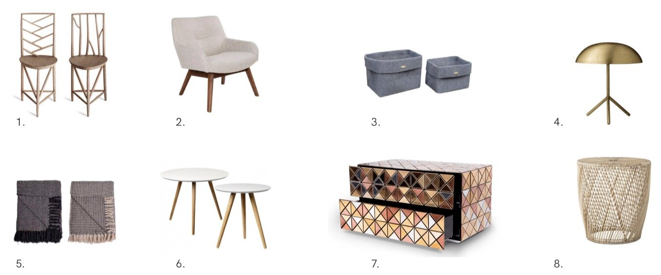 1. Chairs,   Portaromana   2.Lounge Chair,   House Nordic   3.Baskets,   House Nordic   4.Lamp,   Bloomingville   5.Blankets,   House Nordic   6.Coffee table,   Bloomingville   7.Nightstand,   Boca do lobo   8.Side Table,   Bloomingville