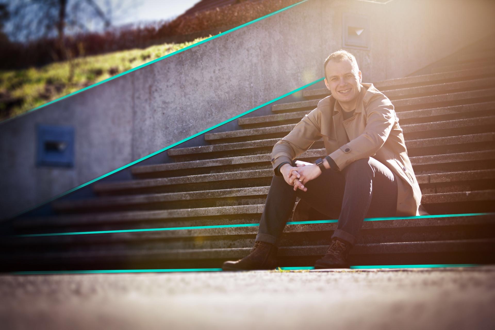 Walter auf Treppe