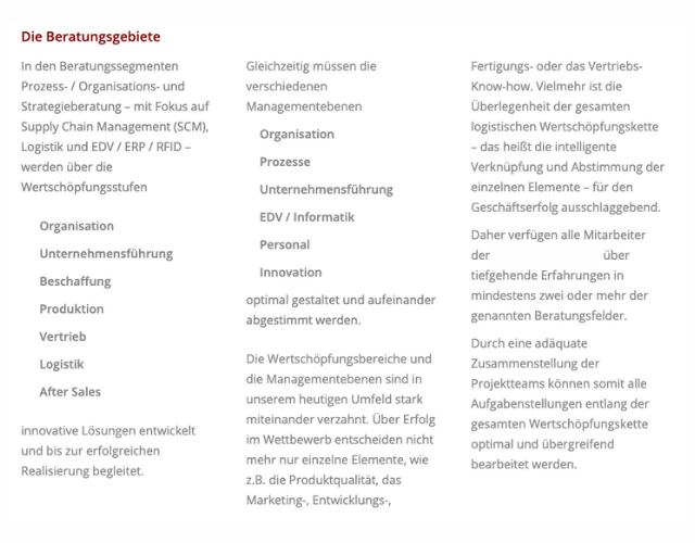 Beschreibung Unternehmensberatung