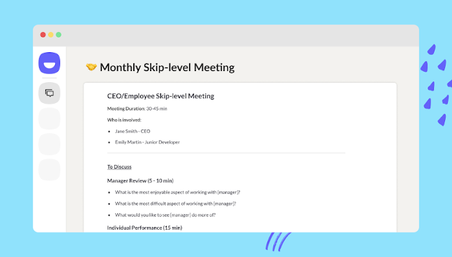 Still asking...what is a skip level meeting and how to run one? Master the 'Skips' to improve transparency, build trust and enhance overall company communication and cohesion.