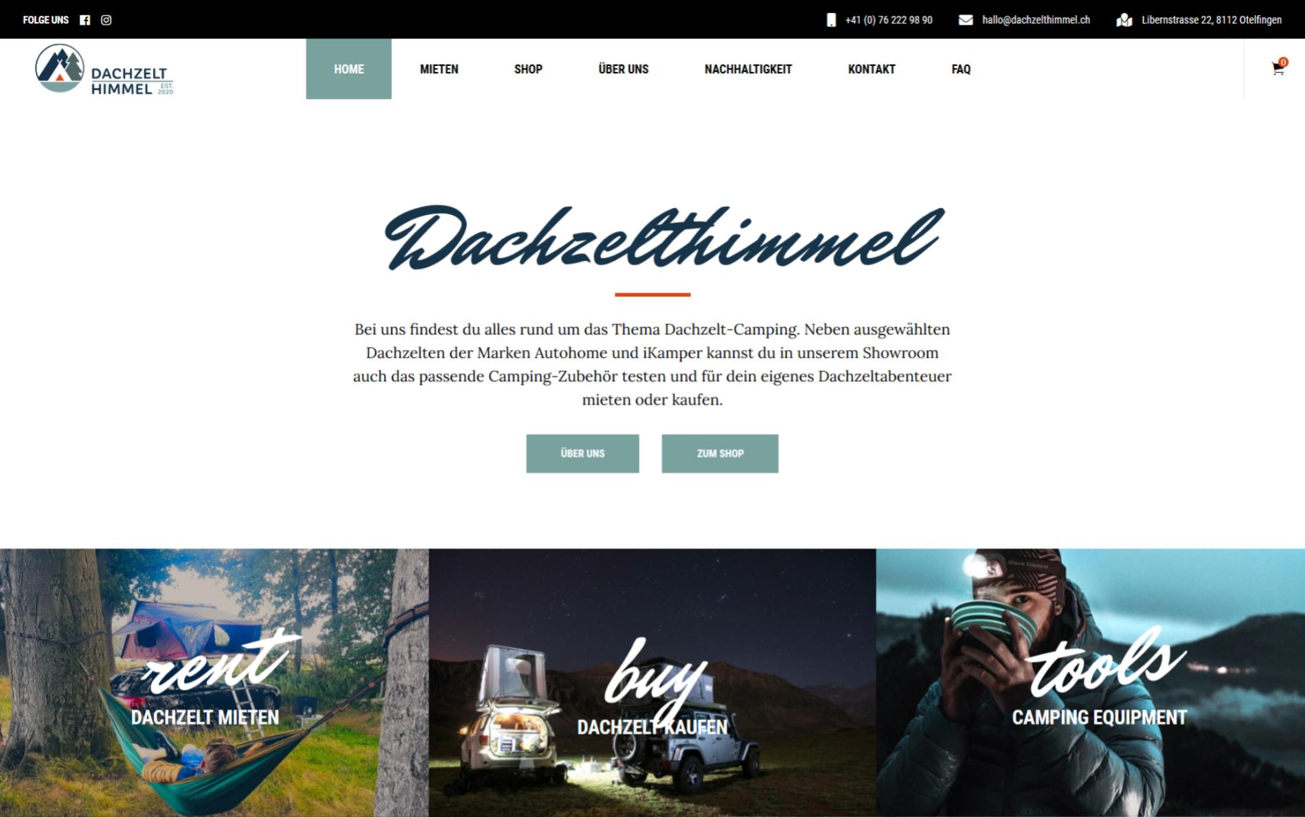Online-Shop für Camping-Ausrüstung