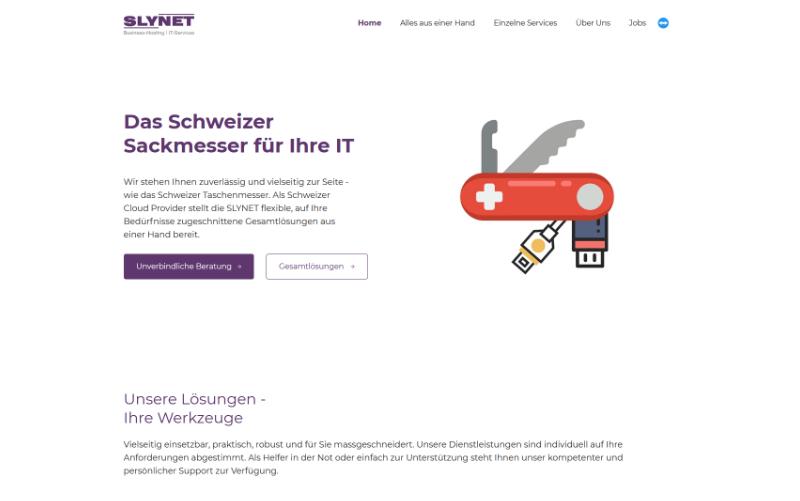 Firmenwebseite Cloud Provider