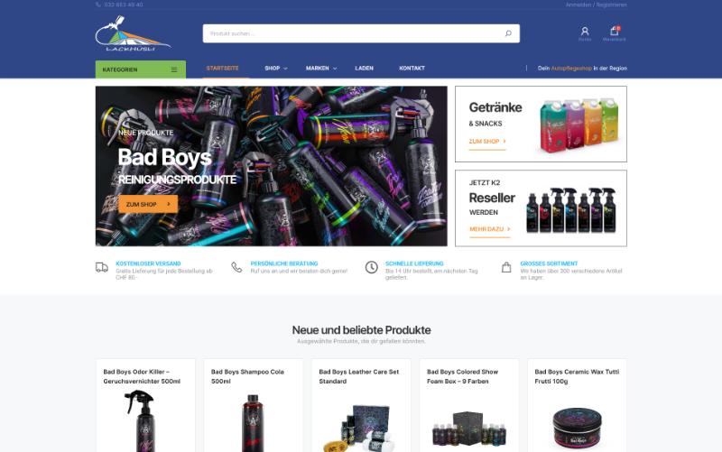 Online-Shop Autopflege