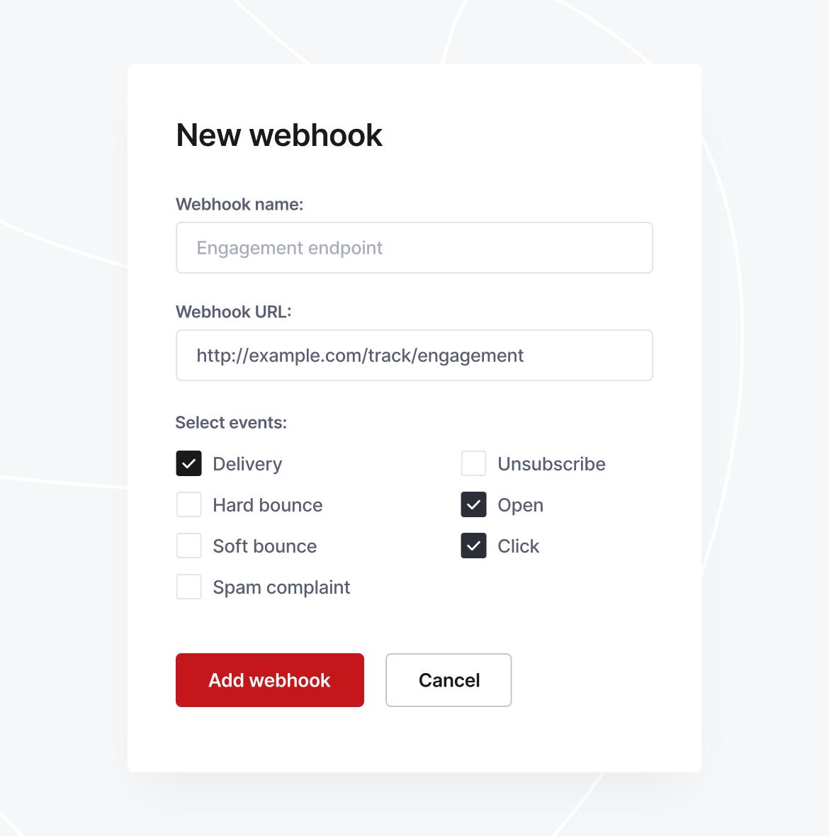 A screenshot of a webhook configuration, taken from Coresender control panel.