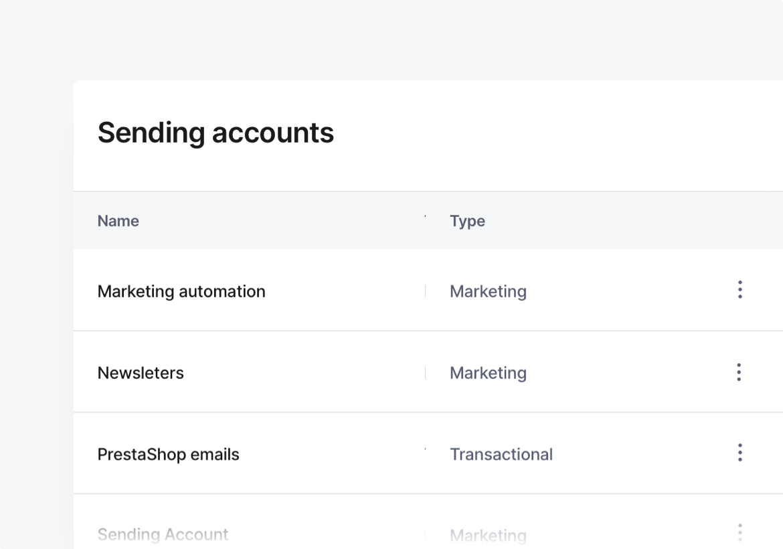 A screenshot showing multiple sending accounts.