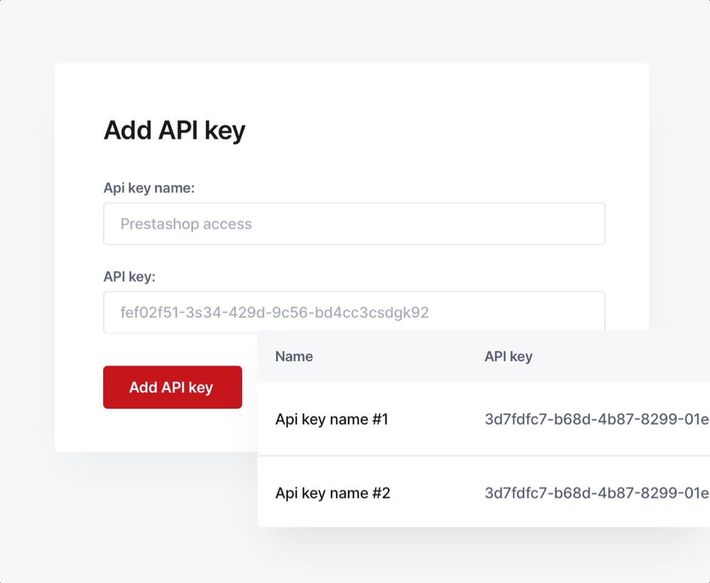 A screenshot showing API keys.