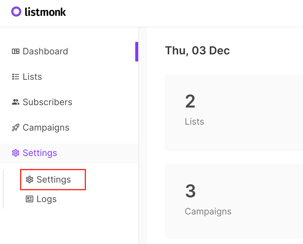 A screenshot of Listmonk, showing how to get to SMTP settings by clicking on Settings and then Settings.