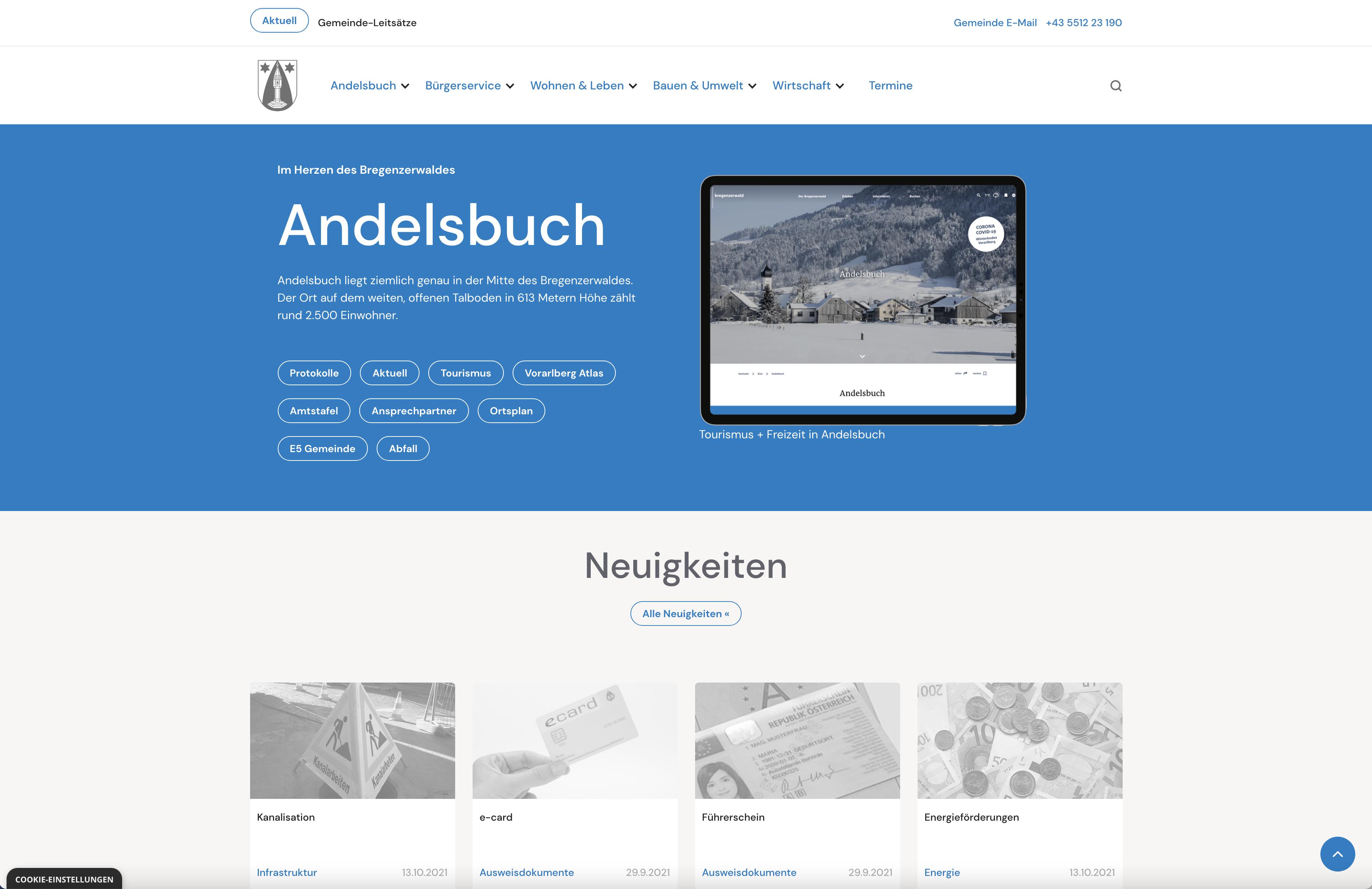 Relaunch Geschäftsdrucksorten und Parteienschriftverkehr sowie Neugestaltung der Gemeindewebsite.