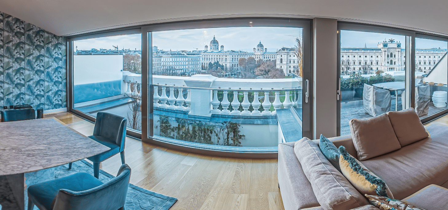 Penthouse living room in the 1st district of Vienna