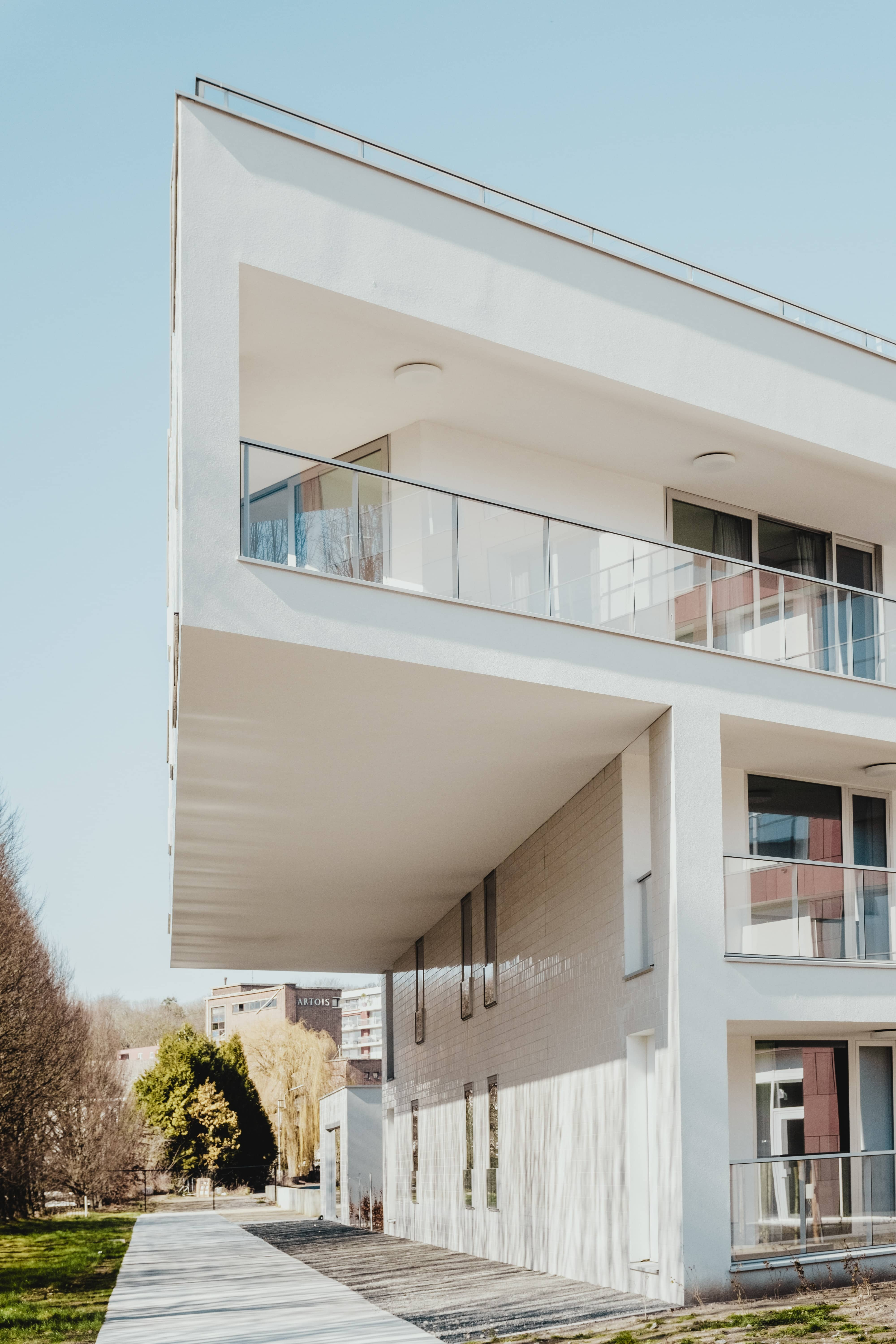 Modern white house with balcony