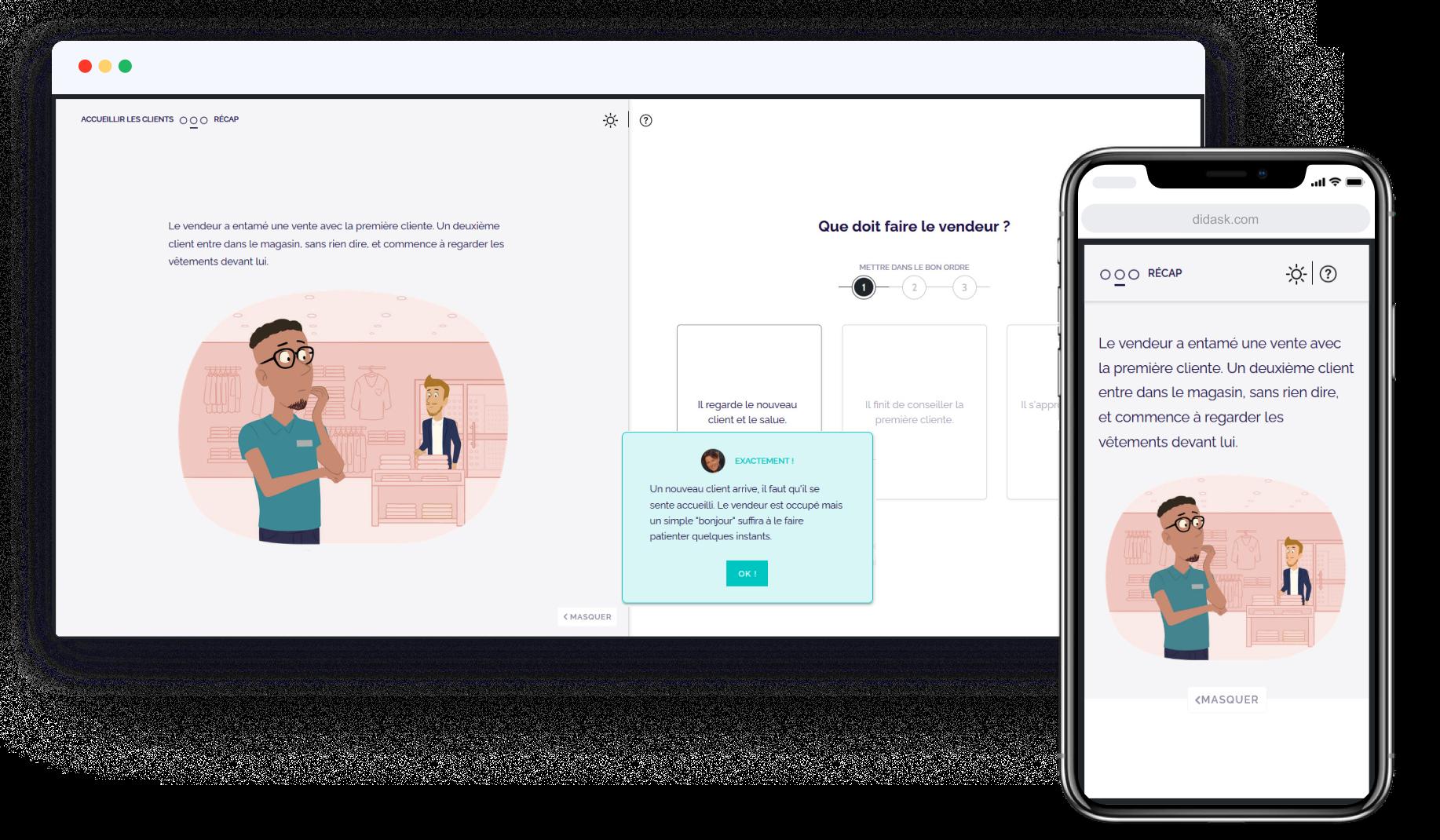 E-learning et relation client : exemple de mise en situation de relation client avec une Learning App Didask