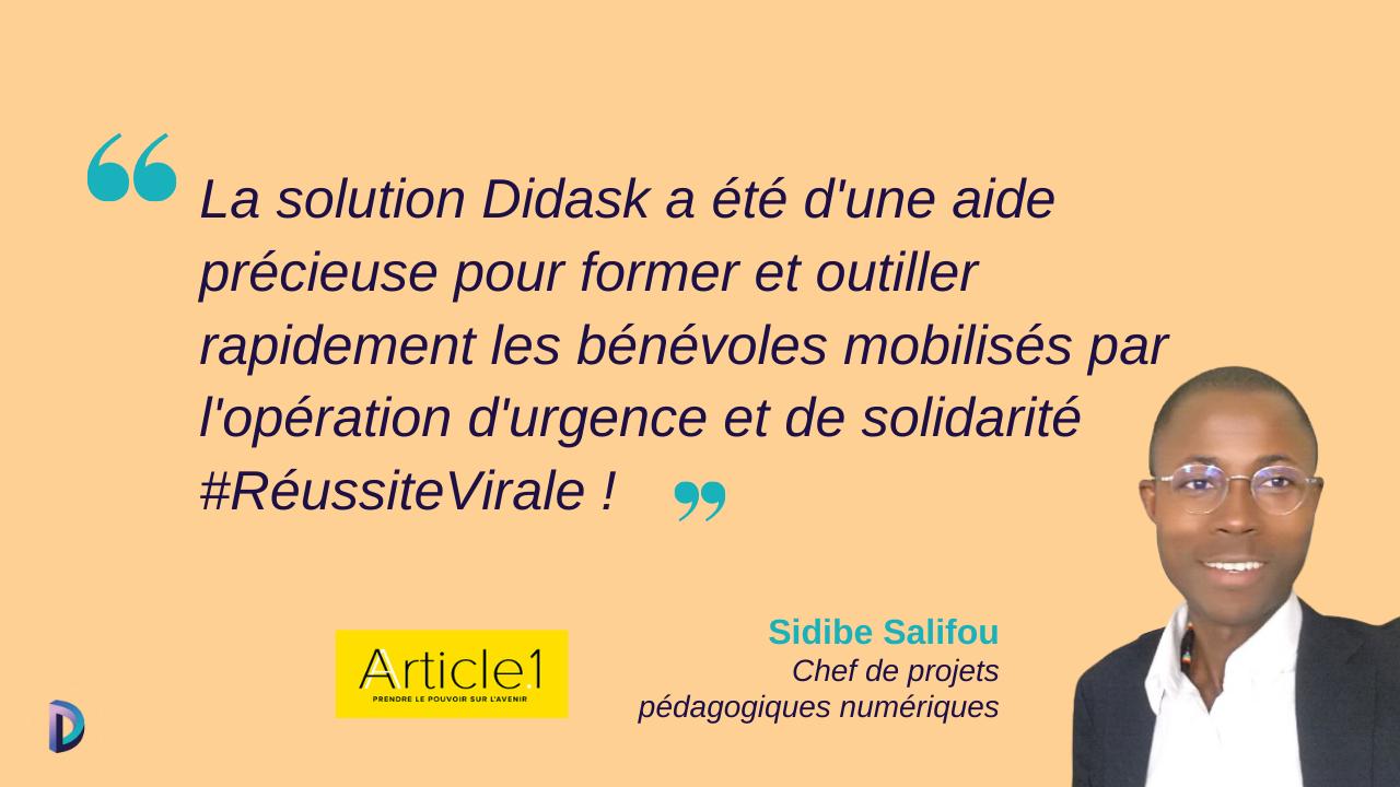 Citation et photo de Sidibe Salifou, chef de projets pédagogiques numériqueschez Article 1