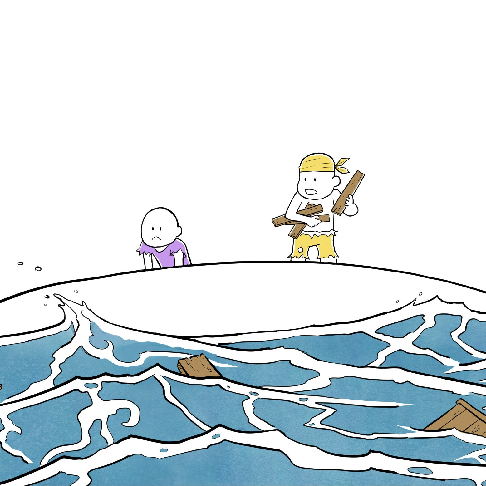 Illustration de 2 personnages naufragés dans la mer