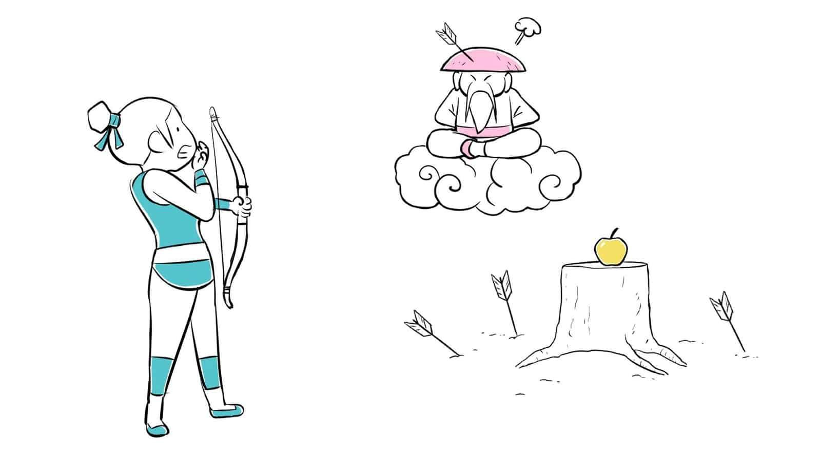 Mémoire, oubli et apprentissage - Illustration d'une apprentie combattante se préparanà tirer à l'arc. Son mentor la regarde.