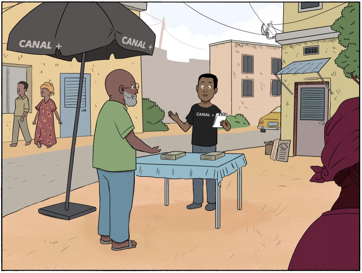 Un commercial Canal+ attire des prospects dans une rue en Afrique
