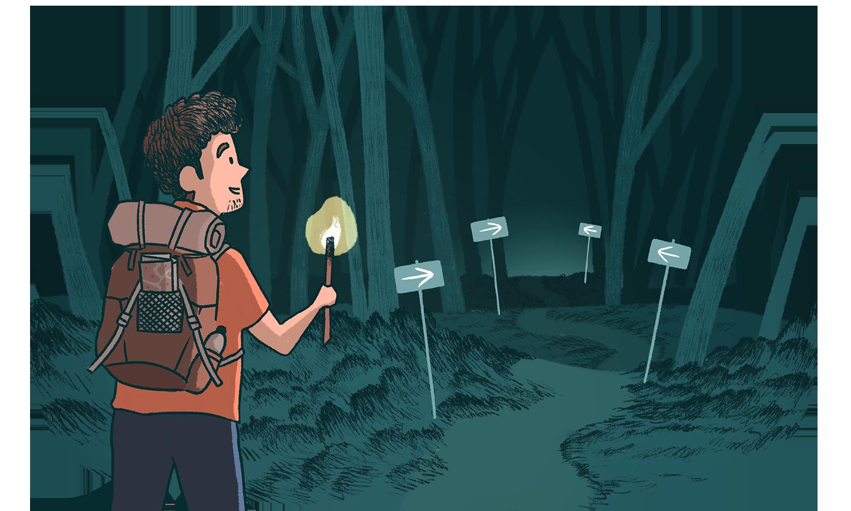 Homme suivant un chemin bien balisé dans une forêt la nuit
