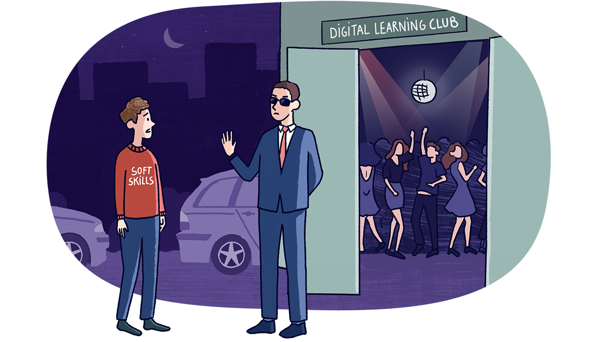 Personnification des soft skills, rejettés à l'entrée de la boite de nuit du digital learning
