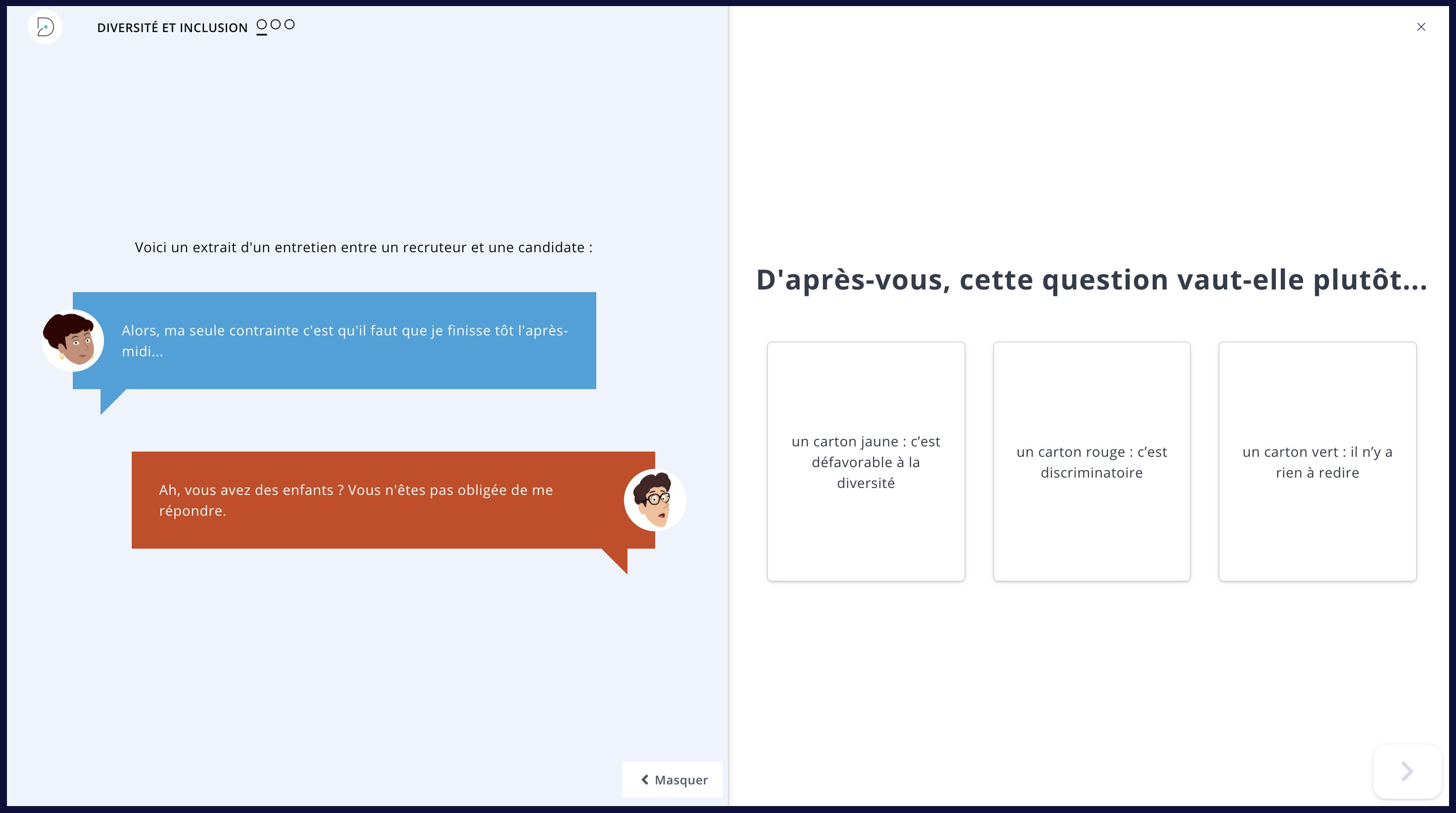 Solution digital learning  : le format RSE mise en situation sur le recrutement de Didask (client : anonyme)