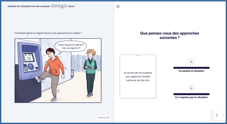 Solution e-learning et relation client : extrait d'une mise en situation sur la relation client (client : RATP) de la solution Didask