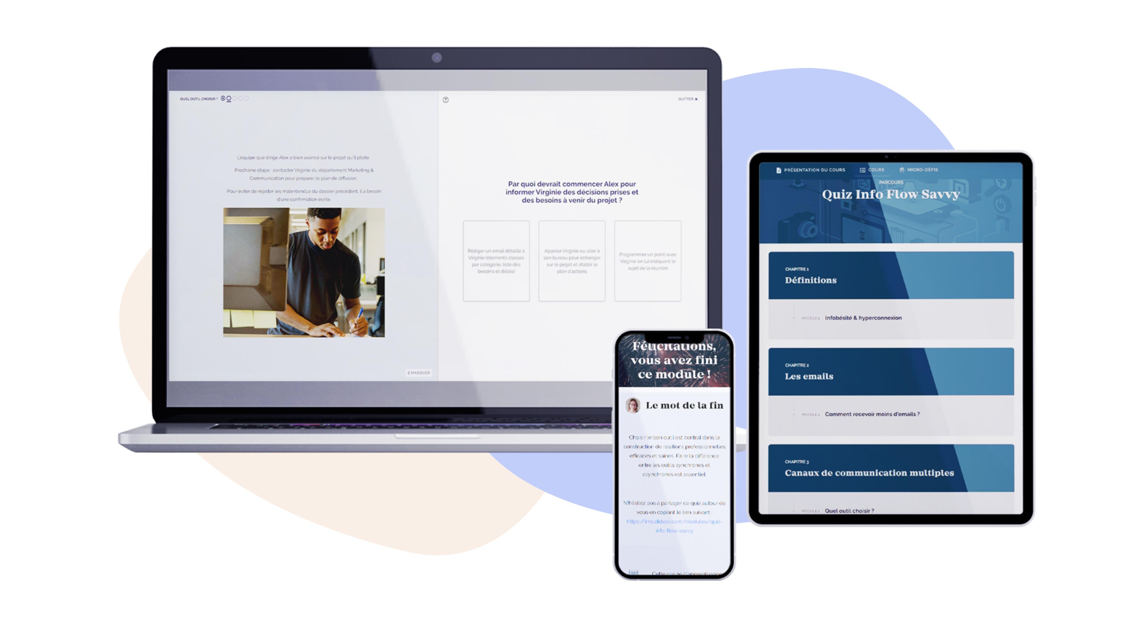 Formation Infobésité et hyperconnexion professionnelle : Quiz Info Flow Savvy avec la solution digital learning de Didask : exemple de module