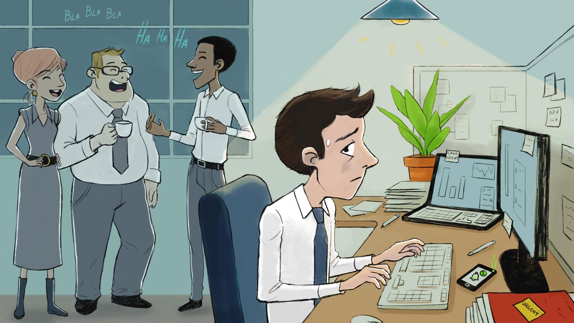 Homme essayant de se concentrer malgré ses collègues qui font du bruit derrière lui