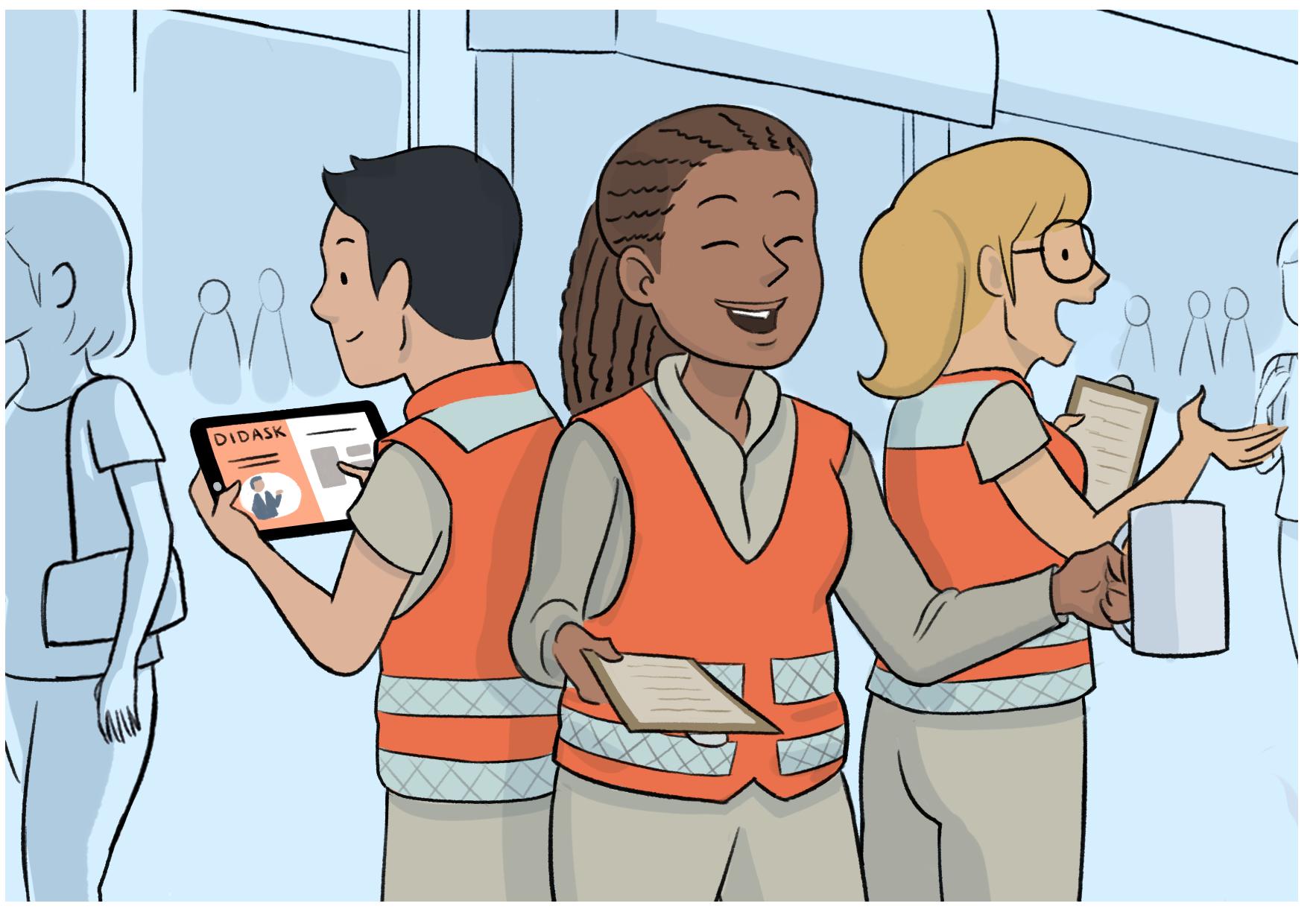 Bénévoles dans la rue, l'un d'eux est en train de se former sur sa tablette - Formation des bénévoles : le digital learning à la rescousse