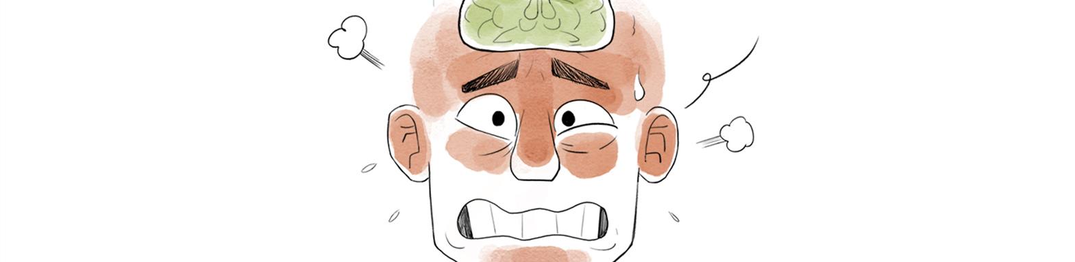 Illustration du visage d'un homme sous pression