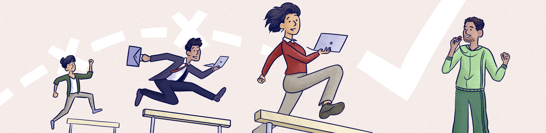 """Formateurs en train de sauter des haies pour illuster leur agilité - Comment la formation peut-elle être """"agile""""?"""
