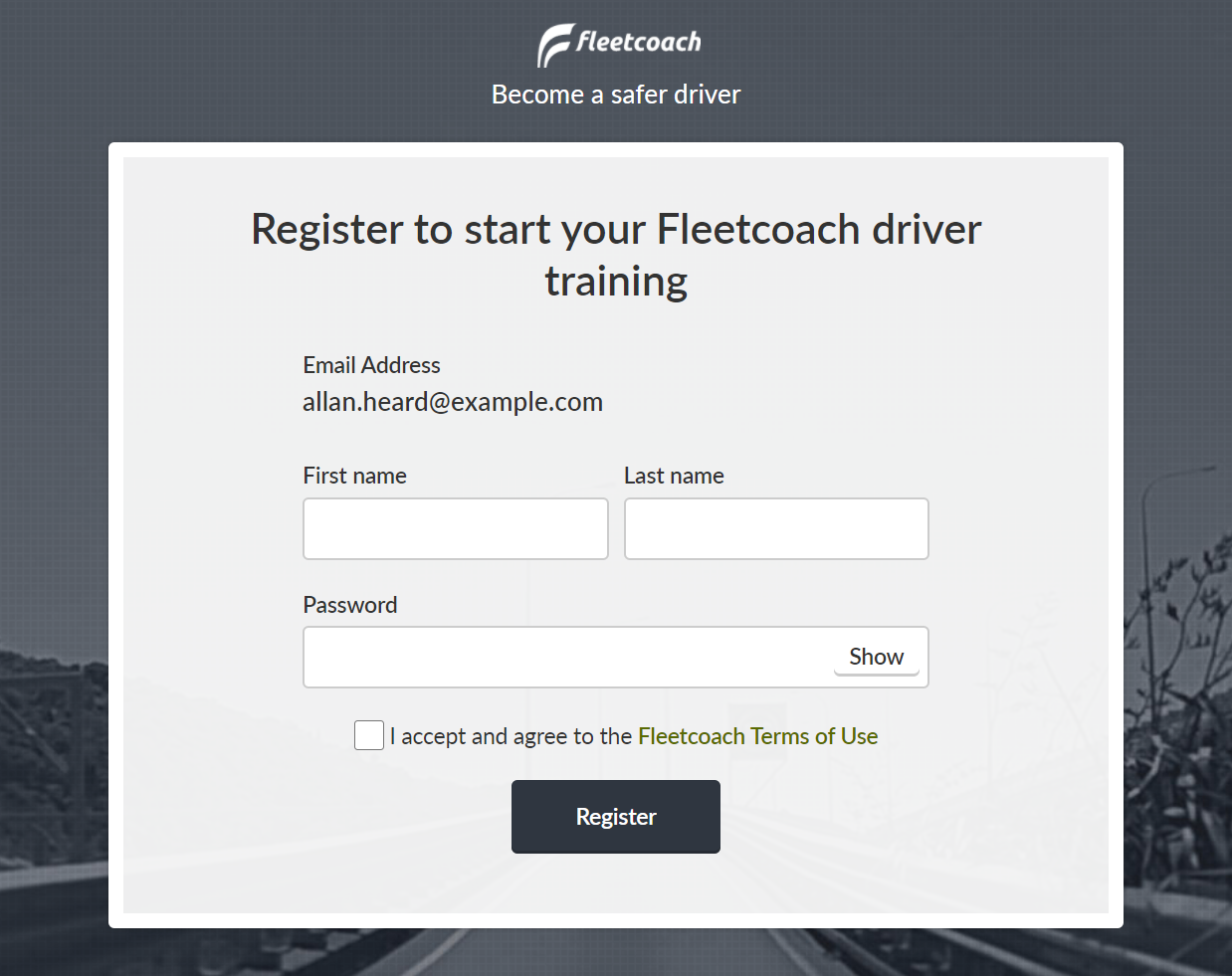 Fleetcoach registration form