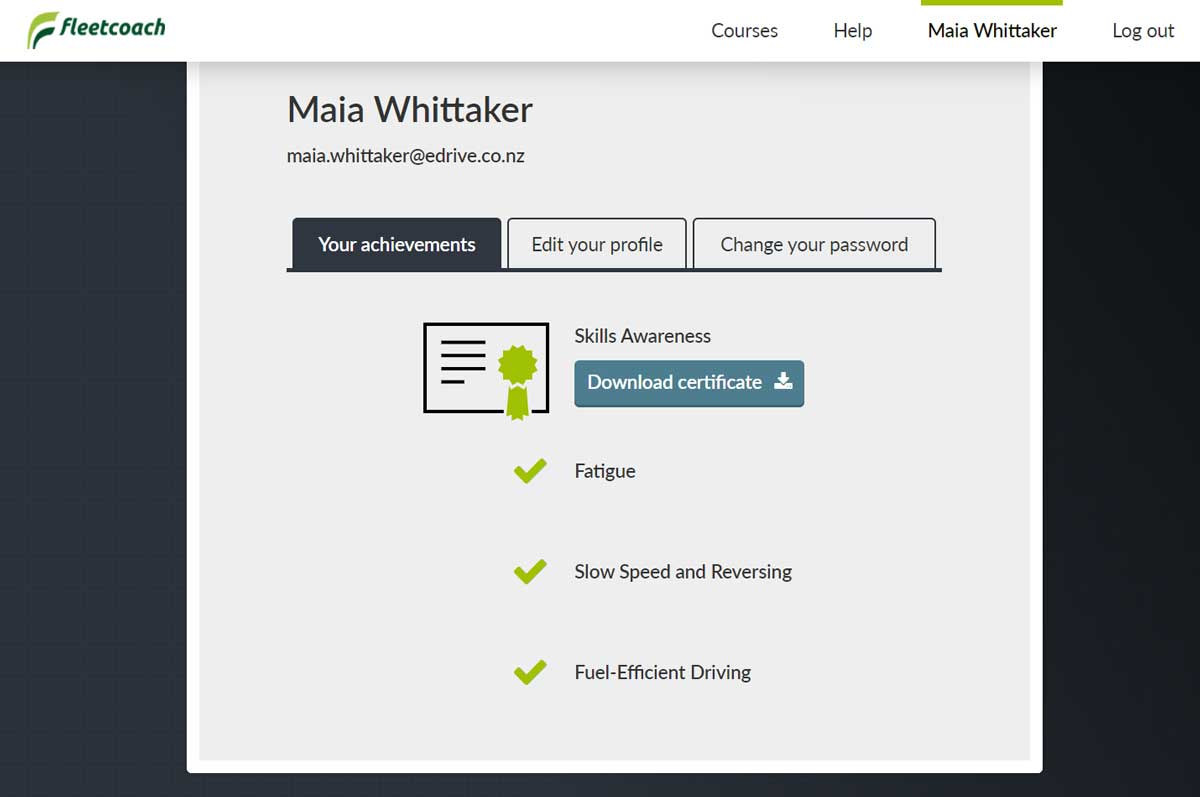 Fleetcoach user profile showing user having completed some courses