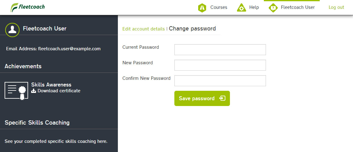 Fleetcoach user profile change password form