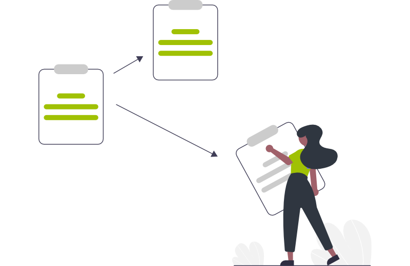 Illustration of person organising tasks in providing support