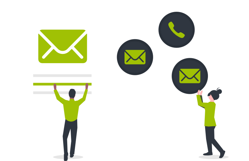 Illustration of people providing email and phone support