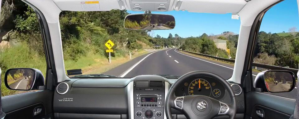 Driving scenario in a rural setting in New Zealand