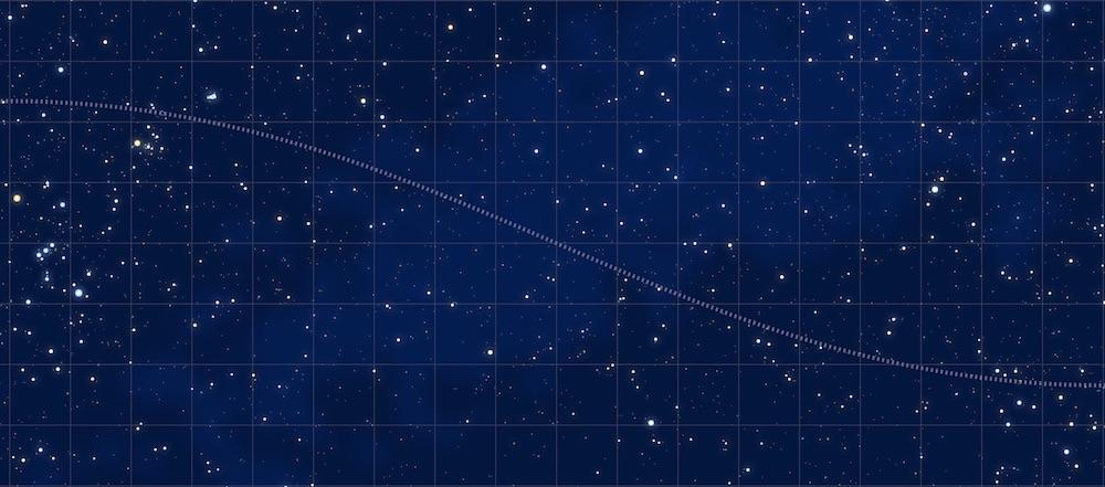 A full-width rectangular sky map