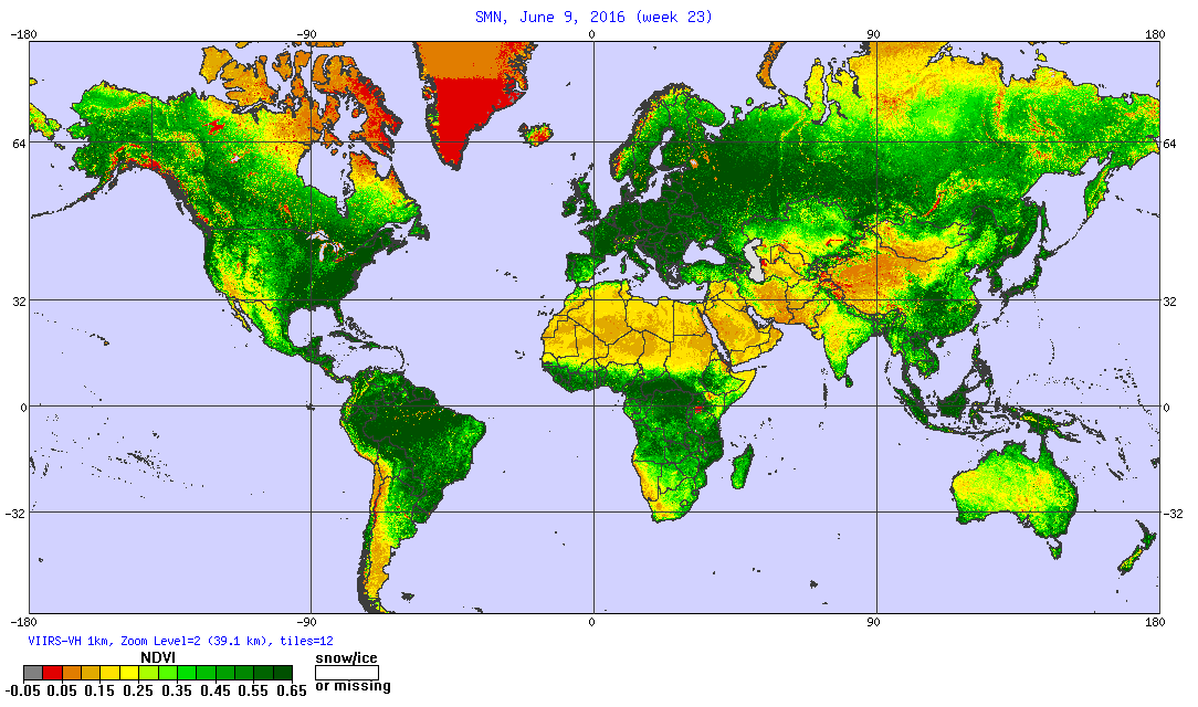 STAR map showing vegetation health for week 1 of January 2016