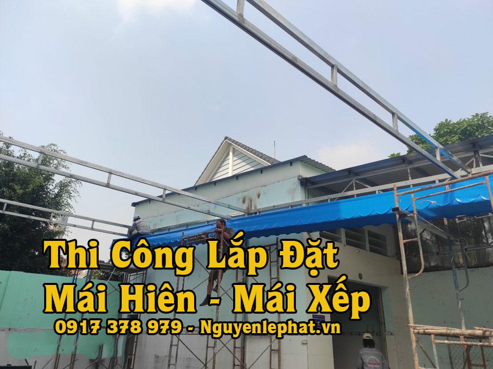Làm mái bạt xếp Thuận An, mái hiên che di động giá rẻ, đẹp