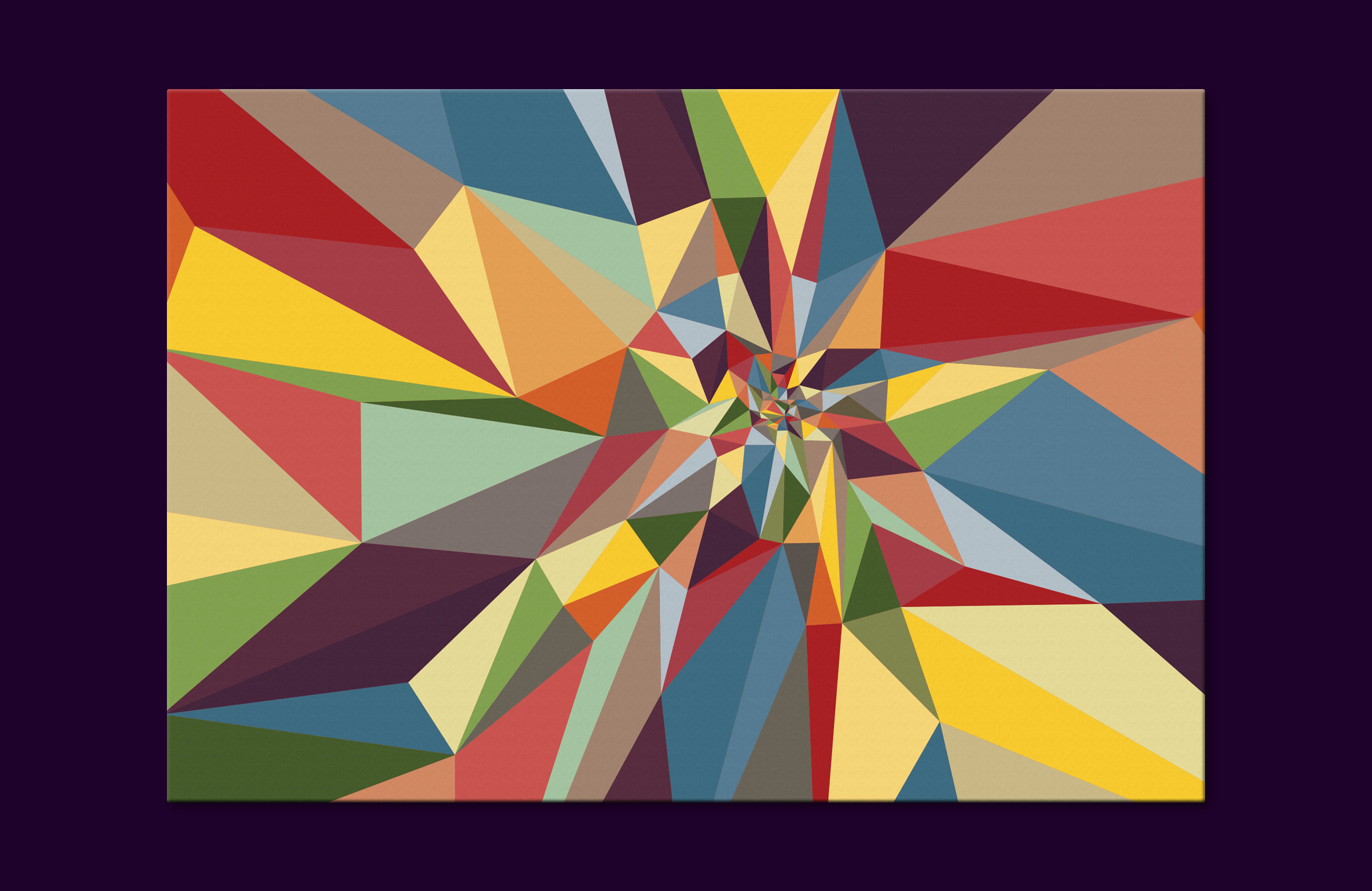 A digital print on canvas that consists of an explosion of triangles in various colors swirling from the center in a mathematical golden ratio.