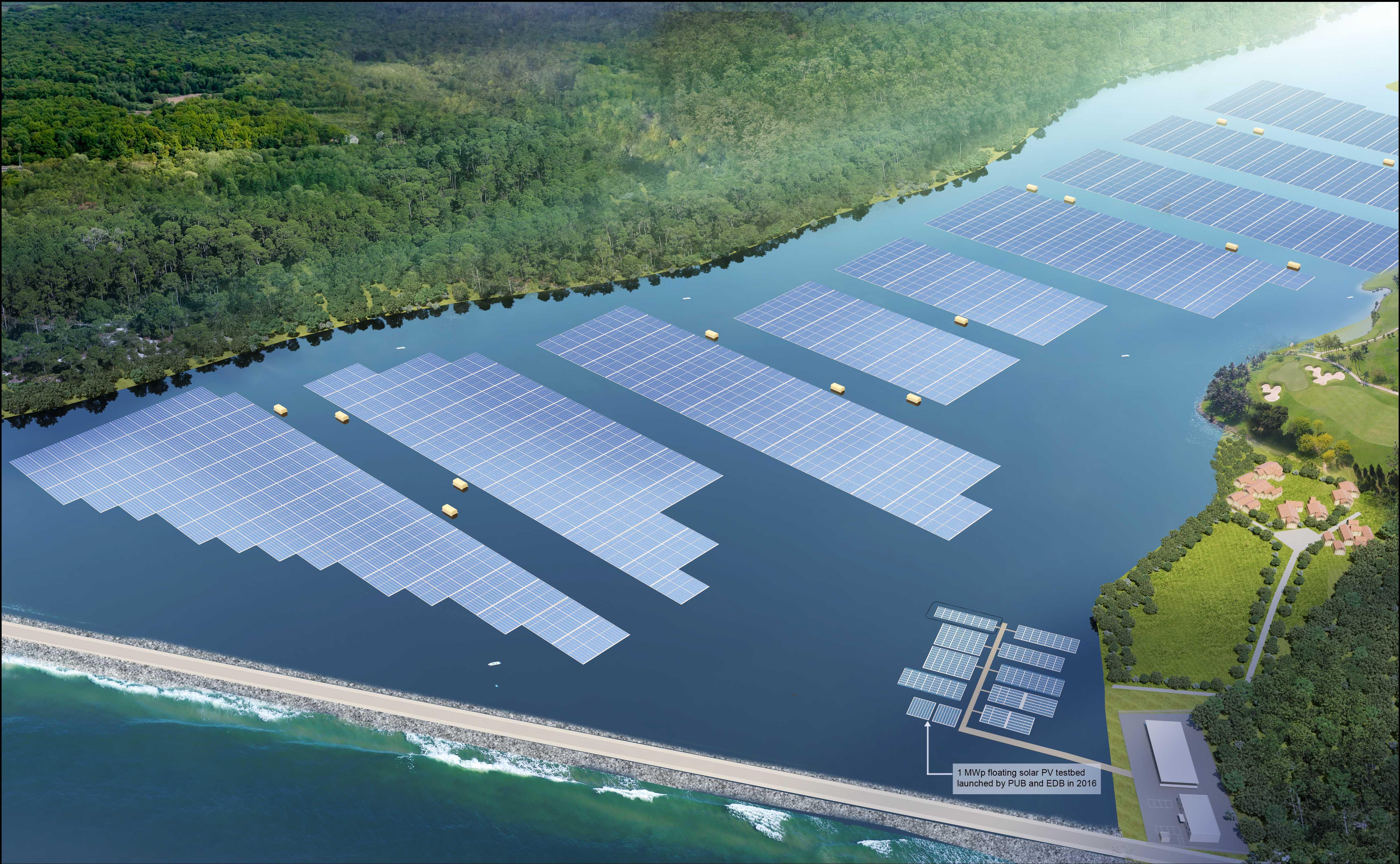 Solpaneler på vatten kan bli uppemot elva procent mer effektivt. Foto: Sembcorp